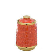 Vaso de cerâmica com tampa decorativo dourado/ laranja 21 cm