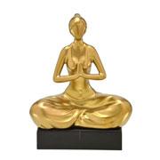 Enfeite de cerâmica mulher ioga dourdado fosco 25 cm