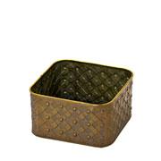 Cachepot quadrado ouro velho 17X10 cm