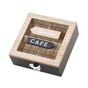 Porta capsula em madeira/metal de café 18x7 cm