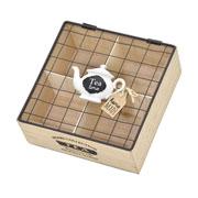 Porta Sache de madeira/metal de chá 20x8 cm