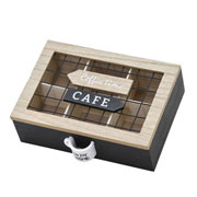 Porta capsula em madeira/metal de café 23x16x7 cm
