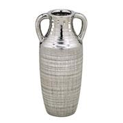 Vaso de cerâmica decorativo prata 25 cm