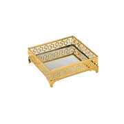 Bandeja de ferro dourada com espelho 16 cm