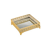 Bandeja de ferro dourada com espelho 20 cm