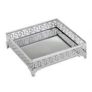 Bandeja de ferro prata com espelho 20 cm