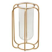 Candelabro de ferro dourado e vidro 24 cm