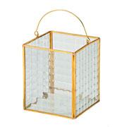 Lanterna de vidro/metal dourada 10x12 cm