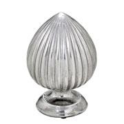 Enfeite pinha de cerâmica prata 26 cm