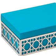 Porta joia de vidro/metal Azul 20x14x08 cm