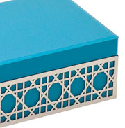 Porta joia de vidro/metal Azul 24x18x10 cm