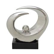 Estatueta abstrata de cerâmica prata 24x26 cm