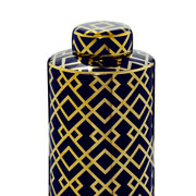 Potiche de cerâmica azul com desenho em dourado 24 cm