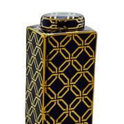 Potiche de cerâmica azul com desenho em dourado 30 cm