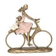 Enfeite de resina mãe e filha na bike 22x24 cm