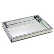 Bandeja de vidro/MDF prata 46x34 cm