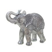 Enfeite de resina elefante prata 21x17 cm