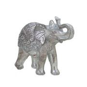 Enfeite de resina elefante prata 16x14 cm