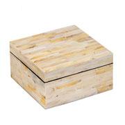 Caixa de madrepérola bege 15x08 cm