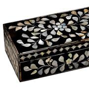 Caixa de madrepérola preta 25x13x08 cm