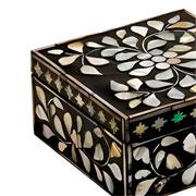 Caixa de madrepérola preta 15x08 cm