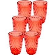 Jogo de copos de vidro vermelho 360 ml 06 peças
