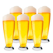 Jogo de copos em cristal Bohemia para cerveja Pilsner 300 ml 06 peças