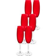 Jogo de taças cristal red para champanhe 220 ml 6 peças