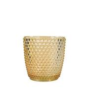 Porta vela de vidro bolinhas âmbar 07x07 cm