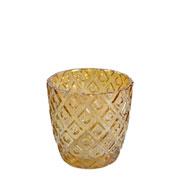 Porta vela de vidro âmbar 07x07 cm