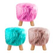 Puff decorativo de tecido com pe colors 33 cm