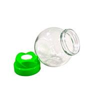 Pote de vidro com tampa de plastico 13 cm
