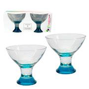 Jogo de taças Pasabahçe Workshop em vidro azul 02 peças