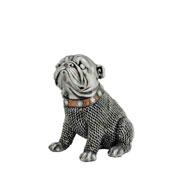 Enfeite de resina cachorro prata 14 cm