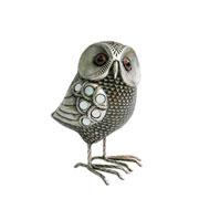 Enfeite de resina coruja prata 18 cm