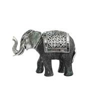 Enfeite de resina elefante prata 14 cm