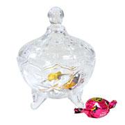 bomboniere de vidro com pé 19 cm