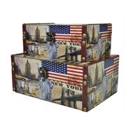 Jogo caixa de madeira New York 02 pçs