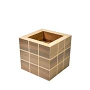 Cachepo cubo riscado 12 cm