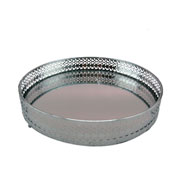 Bandeja em metal redonda prata 21 cm