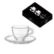 Jogo de xícaras de cristal para café bolinha 100 ml 08 peças