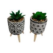 Vaso de cerâmica com pé planta artificial 12 cm