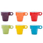 Conjunto de xícaras coloridas de café com suporte 06 peças