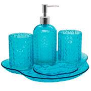 Jogo para banheiro de vidro leaf azul 05 peças - Hauskraft