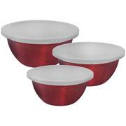 Conjunto potes de inox redondo german vermelho 03 peças - Hauskraft