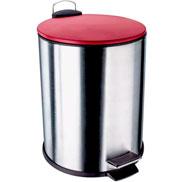 Lixeira de inox com tampa vermelha 5 litros