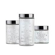 Conjunto pote de vidro decorado sabores 03 peças