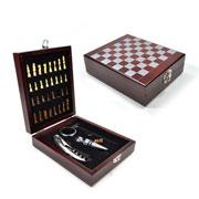 Kit para vinho Jogo Xadrez com maleta 04 peças