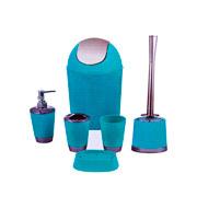 Kit para banheiro azul com 06 peças