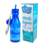 Garrafa com canudo mais água 550 ml